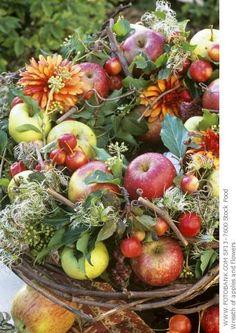 Apple  and flower arrangement - heavenly beautiful!
