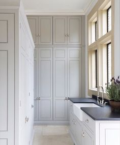 Floor To Ceiling Laundry Room Cabinets - Design photos, ideas and inspiration. Amazing gallery of interior design and decorating ideas of Floor To Ceiling Laundry Room Cabinets in laundry/mudrooms by elite interior designers. Grey Laundry Rooms, Laundry Room Cabinets, Laundry Room Design, Kitchen Design, Kitchen Cabinetry, Cupboards, Layout Design, Design Ideas, Design Inspiration