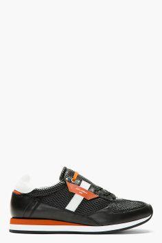 DOLCE & GABBANA Black Leather Mesh Running Shoes