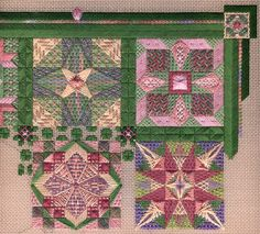 Two-handed Stitcher from 2008 - her favorite palette, pink green Needlepoint Stitches, Needlepoint Canvases, Needlework, Needle Lace, Bargello, Pink And Green, Cross Stitch, Palette, Tapestry