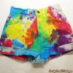 High Waisted Shorts:Painted Rainbow Tie Dye  by DirtySouthVintagee