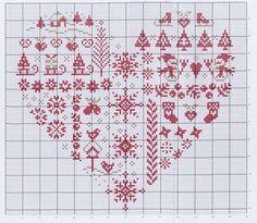 Tiny Cross Stitch, Xmas Cross Stitch, Cross Stitch Christmas Ornaments, Cross Stitch Heart, Cross Stitch Alphabet, Cross Stitch Samplers, Cross Stitch Designs, Cross Stitch Patterns, Quilt Stitching