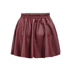 Plaid Pleated Leather Red Skirt ($8.99) ❤ liked on Polyvore