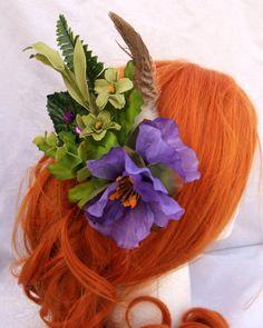 Purple Tropical Fairy Hair Fascinator fairy by RuthNoreDesigns, $22.00