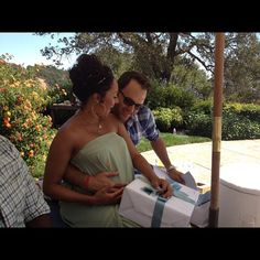 Tamera Mowry-Housley & her hubby Adam Housley at her baby shower
