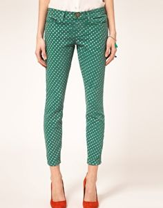 Current/Elliott Stiletto Skinny Jeans In Polka Dot Print
