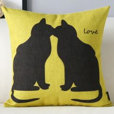 Kissing Cats yellow decorative throw pillows for sofa animal sofa cushions
