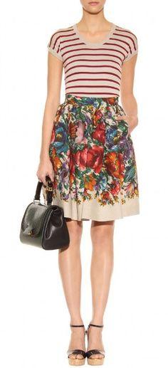Dolce & Gabbana's multicoloured floral-print linen skirt