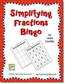 Free! Simplifying Fractions Bingo game from Laura Candler's Teaching Resources on TpT.