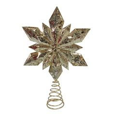 Home Accents Holiday 9.5 in. Gold Star Christmas Tree Topper. Measures 9.5 in. tall Weighs 0.8 lb. Designed for indoor use.