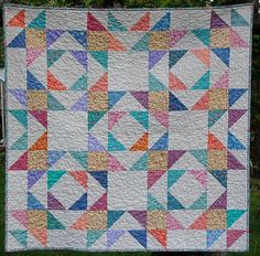 """Pastel Scrap Quilt for Baby Girl Colorful Stars 1970 and 1980 Fabrics 35"""" Spring Table Topper"""