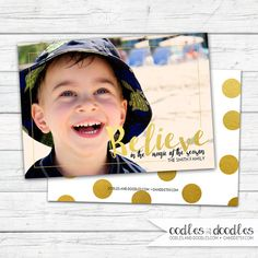 Believe Christmas Photo Card | Confetti & Gold Foil | Holiday or Christmas Card | Printed or printable digital file | Available at Oodles and Doodles at OandD.etsy.com