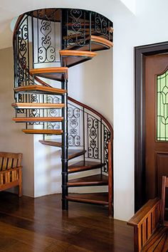 A Renovated Three-Storey House Filled with Flea Market Finds Spiral Staircase Fi Spiral Staircase Filled Finds Flea House Market Renovated spiral staircase ThreeStorey Spiral Stairs Design, Small Staircase, Home Stairs Design, Spiral Staircase, Home Interior Design, Loft Mezzanine, Flur Design, Building Stairs, House Front Design