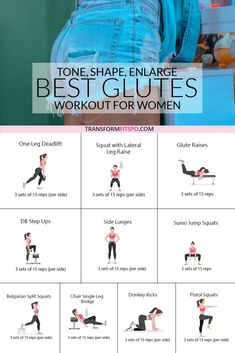 Tone and lift your bum with these great glute exercises. This workout will round and tone your booty and give you a bigger bum. Toning Workouts, At Home Workouts, Glute Exercises, Circuit Workouts, Easy Workouts, Bigger Bum Workout, One Leg Deadlift, Leg Raises, Glute Workouts