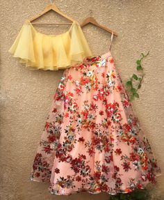 Floral lehenga - Reference floral Lehenga To purchase mail us at com or Whatsapp us on bridesmaids bridaljewellery… Indian Gowns Dresses, Indian Fashion Dresses, Indian Designer Outfits, Designer Dresses, Fashion Outfits, Eid Outfits, Eid Dresses, Colorful Prom Dresses, Wedding Dresses
