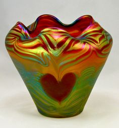 Heart Glass Art Vase