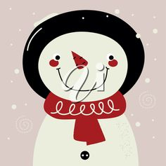 iCLIPART - Clip Art Illustration of a Retro Winter Snowman