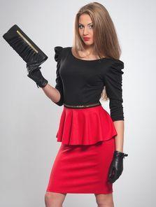 Не платье, а настоящая находка для каждой модницы. Сочетание черного и красного цветов актуально и модно всегда. Очаровательная баска плюс р...