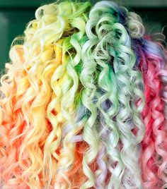 Pastel rainbow hair - from the same person that had the bright rainbow braid, her haircolor faded so it looked like this :)