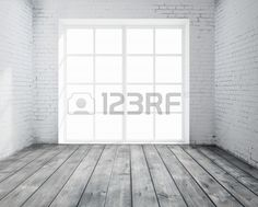 High resolution brick concrete room with window Stock Photo