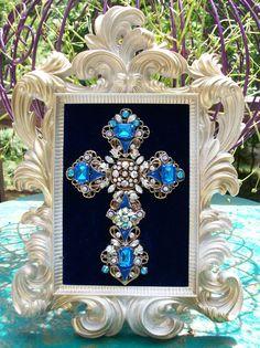 Vintage Rhinestone Jewelry Christmas Tree Cross Art By Tami R Dean