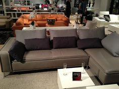 Leather sectional with pillows by HTL Furniture. // www.KeyHomeFurnishings.com in Portland, Or