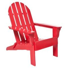 """Folding hardwood Adirondack chair in red. .  Product: Adirondack chairConstruction Material: Hardwood and polyurethaneColor: RedFeatures:  Folds flat for easy storageSuitable for indoor and outdoor use Dimensions: 37"""" H x 29"""" W x 35"""" DCleaning and Care: Wipe with a wet cloth or spray with a hose"""