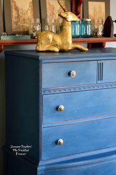 Blue Velvet vintage dresser in DecoArt Preservation Chalky Finish Paint Preservation Blue Furniture, Painted Furniture, Refinished Furniture, Real Milk Paint, Chalky Finish Paint, Blue Dresser, Painted Drawers, Floating Vanity, Vintage Dressers