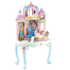 Barbie Island Princess Castle Vanity Table An enchanting castle vanity table filled with hidden storage and secret jewellery and a dressing table with stool for you! On Sale Everything Barbie Princess Doll House, Princess Toys, Princess Castle, Barbie Princess, Mattel Barbie, Glitter Furniture, American Girl Furniture, Diy Barbie Clothes, Dressing Table With Stool