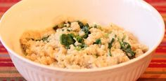spinach parmesan quinoa - simple way to prepare quinoa as a side dish. Next time I will prepare the quinoa uncovered like I usually do. This was a bit soupy for my taste.
