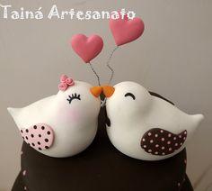Topo de bolo passarinhos