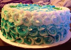 Teal swirl ombre cake