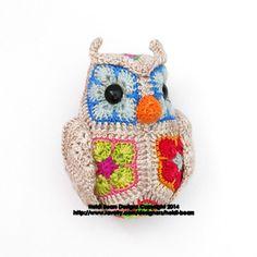 Fat Little Owl African Flower Crochet Pattern by heidibears