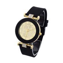 bd2ab0ba30e Venda quente Marca de Moda Ouro Cristal Silicone Genebra esporte Relógio de  Quartzo As Mulheres se