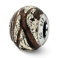 Sterling Silver Italian Brown & Silver Colored Glass Bead