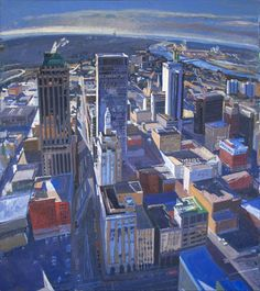 Mark Lewis. This painting hangs in my dining room, and it makes me happy. I <3 Tulsa!
