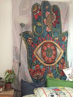 This beautiful Hamsa Hand Wall Tapestry is perfect for above your bed, on top of your bed, or draping in your living room. The Hamsa Hand has become a popular g Bohemian Wall Tapestry, Indian Tapestry, Mandala Tapestry, Tapestry Wall Hanging, Mandala Throw, Mandala Indio, Best Wall Paint, Cool Tapestries, Elephant Tapestry