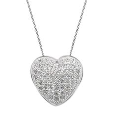 "10K Gold Over Pave Set VVS1 Diamond Stunning Heart Shape Pendant 18"" Necklace #Affinityjewelry #HeartPendant"