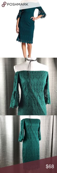 Sharagano Off The Shoulder Lace Dress Dark rain forest green lace dress with lining. Elastic around chest and shoulders for a secure fit. Zipper located in the back. Sharagano Dresses