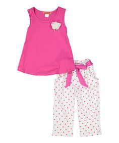 Hot Pink Swing Tank & Polka Dot Pants - Toddler & Girls by Funkyberry #zulily #zulilyfinds