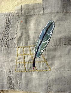 Feather stitching. outlined feather