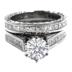 Round Diamond Engagement Ring and Matching Wedding with Princess Diamonds Band 2.32 tcw. In Platinum