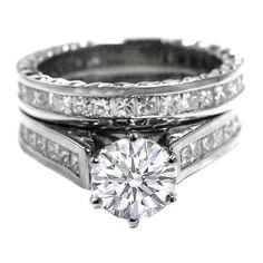 Round Diamond Engagement Ring and Matching Wedding with Princess Diamonds Band 2.32 tcw. In Platinum