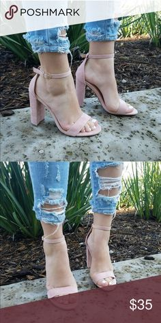 """Blush Suede Open Toe Ankle Strap Chunky Heel This open toe heel features a single band across vamp, chunky wrapped heel, lightly padded insole, and adjustable ankle strap with buckle closure.  Material: Vegan Suede (man-made) Sole: Synthetic.  Heel Height: 4"""" (approx) Shoes Heels"""