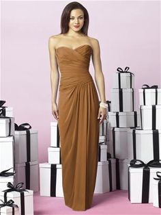 The Dessy Group After Six Bridesmaids Style 6641in butterscotch