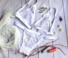 Handmade lingerie // Handmade bra set // Bralette set//Lace lingerie //Lace triangle bra // Sexy lingerie