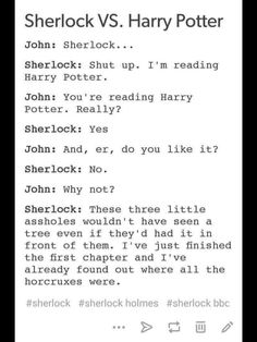 Do I post this to my Sherlock board or my Harry Potter board? <<< good thing I have a crossover board eyyyyyy Sherlock Holmes Bbc, Sherlock Fandom, Superwholock, Johnlock Tumblr, Nos4a2, Fangirl, Mrs Hudson, Fandom Crossover, Entertainment