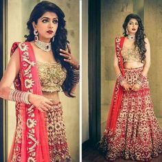Wonderfull bridal lehenga designer piece vit gold embroidery