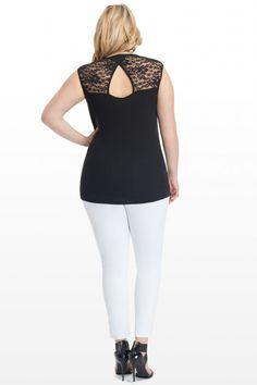 Plus Size Roma Draped Lace Back Top | Fashion To Figure