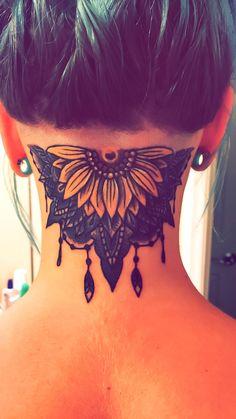 Sunflower mandala undercut tattoo